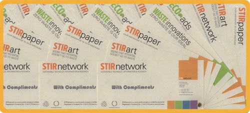STIRagrafik designs for corporate stationary: compliment slips.